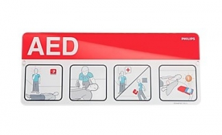 Philips AED Awareness Placard red